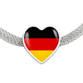 German Pride - Luxury Heart Charm Bracelet