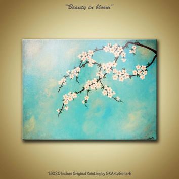Original Acrylic Painting Ivory flowers from SKArtzGallerE