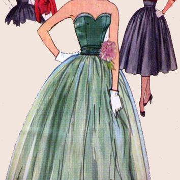 1950s Vintage Sewing Pattern Simplicity 3694 ROCKABILLY Prom Gown, Strapless Bustier Evening Dress with Bolero Size 14 Bust 32 UNCUT