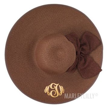 Monogrammed Floppy Wide Brim Derby Hat with Bow | Marleylilly
