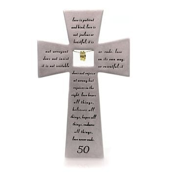 Religious 50Th Anniversary Wall Cross Sign / Plaque