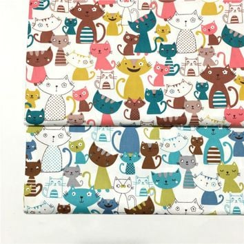 Printed colorful cats Twill Cotton Fabric By Half Meter for Patchwork Quilting Baby Bedding Sewing Cloth Material