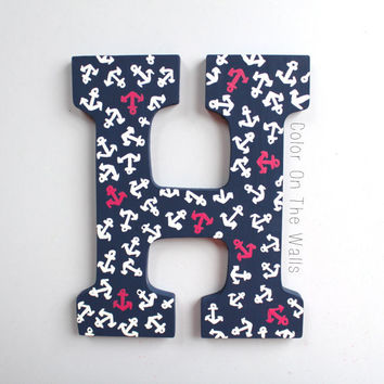 Hand Painted Lilly Pulitzer Wall Letter In Ahoy There Print - Navy With Pink And White Anchors