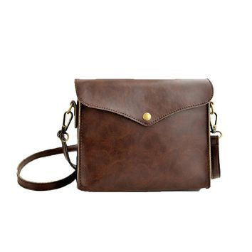 Retro Women Shoulder Bag Faux Leather Crossbody Messenger Bag Brown