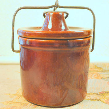 Vintage Small Brown Stoneware Butter or Cheese Crock with Lid and Wire Bail.