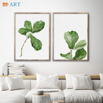 Mirrors Framed Fiddle Leaf Fig Watercolor Painting Leaves Drawing Scandi Green Plant Minimalist Botanical Wall Art OfficeDecor