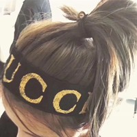 """Gucci"" Women Hair Ornaments Fashion Stretch Letter Logo Headband Headkerchief"