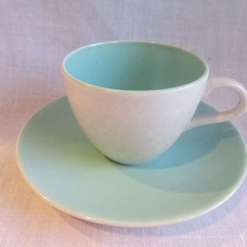 Poole Twintone Ice Green and Seagull Teacup/ by TheDorothyDays