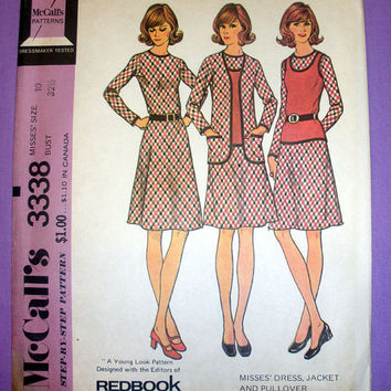 70's Women's Dress, Jacket and Pullover Misses' Size 10 McCall's 3338 Vintage Sewing Pattern Uncut