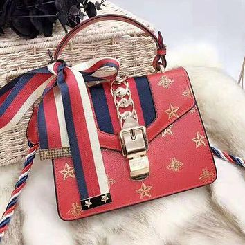 GUCCI High Quality Trending Women Stylish Leather Handbag Tote Shoulder Bag Crossbody Satchel Red