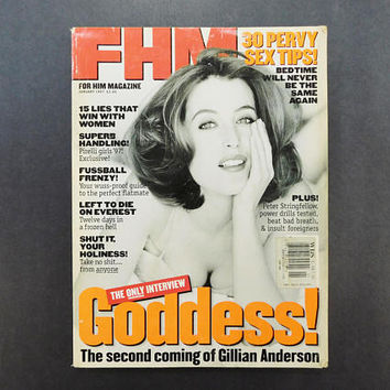 1990s Vintage / FHM Magazine / For Him Magazine / February 1997 / Gillian Anderson / Storm Watch / British Mens Magazine / 90s Fashion