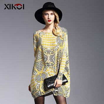 XIKOI 2018 Spring Long Batwing Sleeve Female Yellow Fluffy Sweater Casual Print Women Clothes Pullovers Pullover Clothing Jumper