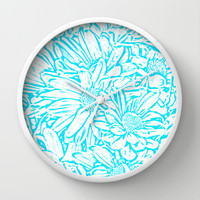 Daisy Daisy in Southwest Turquoise Wall Clock by Lisa Argyropoulos