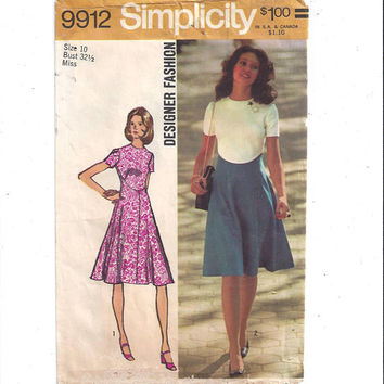 Simplicity 9912 Pattern for Misses' Dress, Designer Fashion, Flare Skirt, Size 10, From 1972, Vintage Sewing Pattern, Home Sew, 1972 Fashion