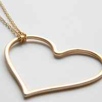 Matte Gold Heart Pendant on 24 inch Matte Gold Chain