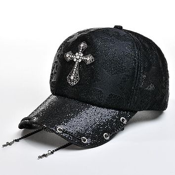 Rhinestone Cross Baseball Caps for Women Outdoor Casual Sun Hats Hip Hop Lady Summer Sun Hat Adjustable Ventilate Gorras Chains