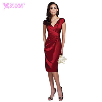 2016 Burgundy Shining Stain Mother of the Bride Dresses V-neck Cap Sleeve Knee Length Formal Women Evening Gowns Party Dress