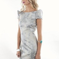Ladakh Mirage Dress | Metallic Silver Evening Dress | MessesOfDresses.com