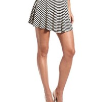 Black & White Stripe Skater Skirt: Charlotte Russe