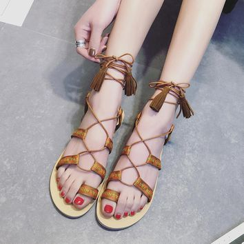 Women Gladiator Summer Boots Shoes Canvas Strappy Bandage Clip Ring Toe Flat Ladies tie sandwich toe Casual flat sandals Shoes