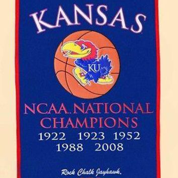 Kansas KU Jayhawks NCAA Basketball Wool Felt Dynasty 24x36 Banner