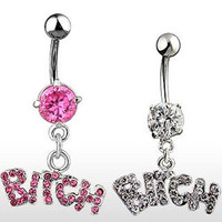 M-TARA 1PC Bitch Sexy Crystal Surgical Button Belly Ring Jewelry Navel Bar Body Piercing Jewelry = 1945844164