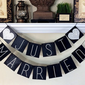 Just Married Banner / Wedding Decorations / Photo Props / Rustic Wedding