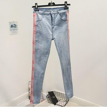 GUCCI New Trending Women Stylish Double G Letter Print High Waist Denim Pants Pink I12034-1