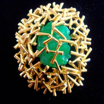 Green Glass Gold Plate PANETTA Brooch & Pendant, Modernist, Twigs, Vintage
