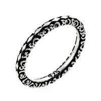 2.5mm Antiqued Marquis Flora Design Stackable Sterling Silver Ring, Size 6