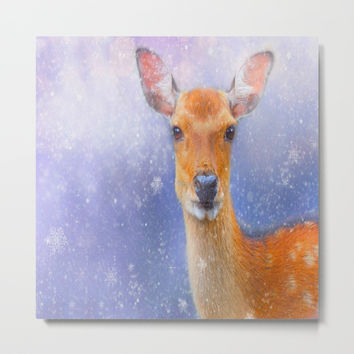 Festive Reindeer Throw Pillow by Colorful Art
