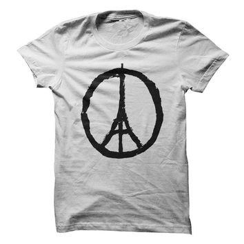 Eiffel Tower Peace Sign - White