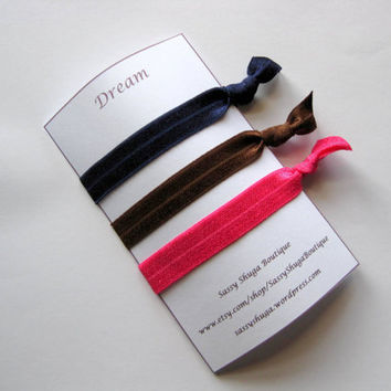 Navy blue elastic hair tie set, foe elastics, workout gear, hot pink, brown, knotted hair ties, no dent elastic bands for all hair types