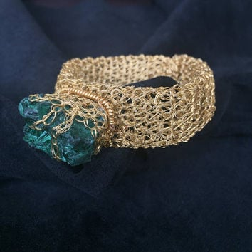 Luxury gold bracelet/ wire crochet/ handmade knitting/ Mother's day gift/ malachite stone/ goldfilled wire/ wedding gift/ handmade