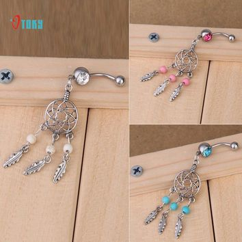 OTOKY Dropship Dream Catcher Belly Button Ring Stainless Steel Crystal Belly Button Rings Body Piercing Nombril Pircing Ring