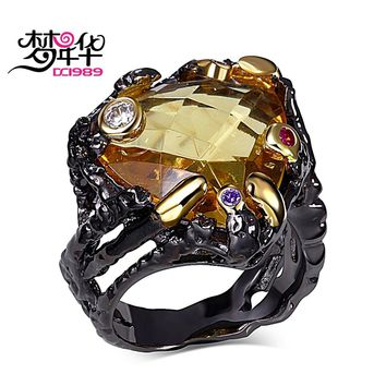 DreamCarnival 1989 Unique Vintage Black Rings for Women Gold Color Big Champagne Zircon Wedding Engagement Jewelry anillos mujer