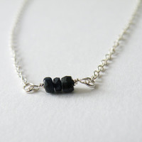 Black Sapphire Bead Necklace Delicate Necklace Minimalist Necklace Sterling Silver Birthstone Jewelry September Stone by SteamyLab