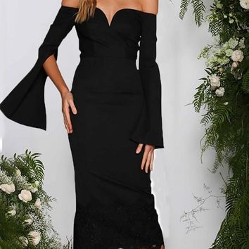 New Black Patchwork Lace Cut Out Off Shoulder V-neck Long Bell Sleeve Homecoming Party Elegant Midi Dress