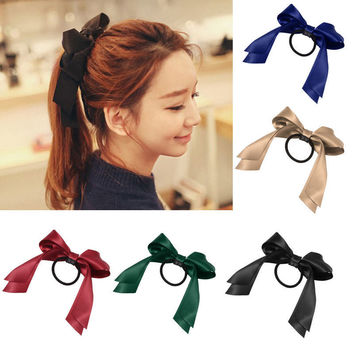 HOT Fashion Women Girl  Multicolor Ribbon Bow Elastic Hair Band Rope Scrunchie Ponytail Holder