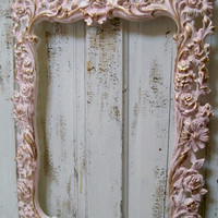 Large ornate vintage frame pink white accented gold shabby chic romantic wall home decor Anita Spero