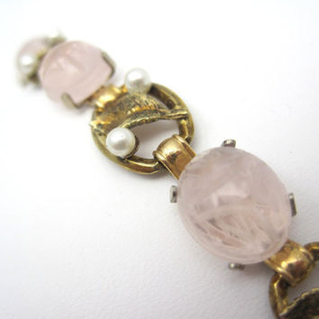 Vintage Scarab Bracelet - Rose Quartz Carved Beetles Krementz Gold Plated Pearls Semi Precious Stone Egyptian Revival Jewelry