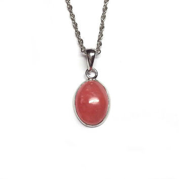 Rhodochrosite Crystal Necklace - Rhodochrosite Pendant, Red Jewelry Gift, Red Necklace for Her, Red Love Necklace, Love Stone