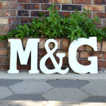 "12"" Wooden Letter Set - Wedding Decor / Guest Book, 3pc - Distressed"