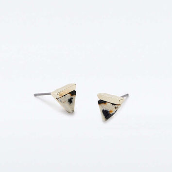 Semi-Precious Triangle Stud Earrings - Urban Outfitters