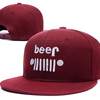 YUDUODUO Jeep Funny Beer Die Adjustable Snapback Embroidery Caps Hats - Red