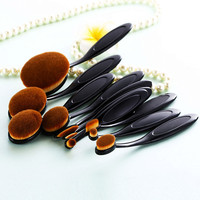 New Arrival 10 Style Toothbrush Shape Oval Makeup Brush Set Eyebrow Foundation Cream Powder Blush Makeup Brush Tools