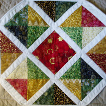 Holiday Table Christmas Topper Table Protector Hand Quilted