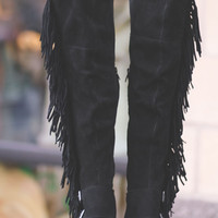 Just for the Thrill Over the Knee Suede Fringe Boots (Black)
