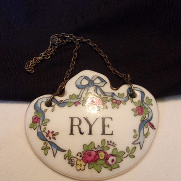 Crown Staffordshire Vintage Antique Rye Decanter Label Bone China Porcelain England