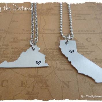 Place to Place - Long Distance Love or Friendship map necklaces